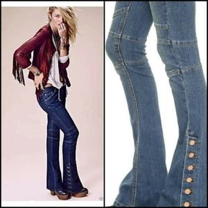 Free People Vintage Look Copper Buttons Blue Jeans